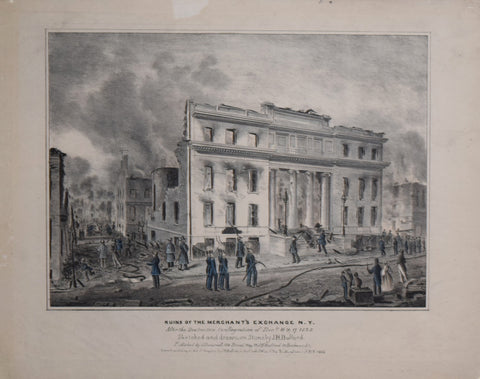 John Henry Bufford (1810-1870), sketched, Ruins of the Merchant's Exchange NY