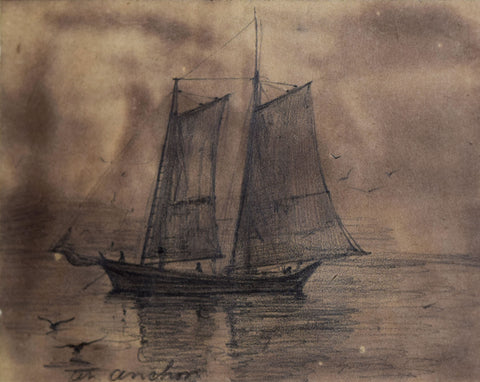 Milton J. Burns (1853-1933), [Single ship with seagulls]