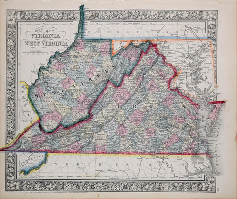 Samuel Augustus Mitchell (1790-1868), County Map of Virginia and West Virginia