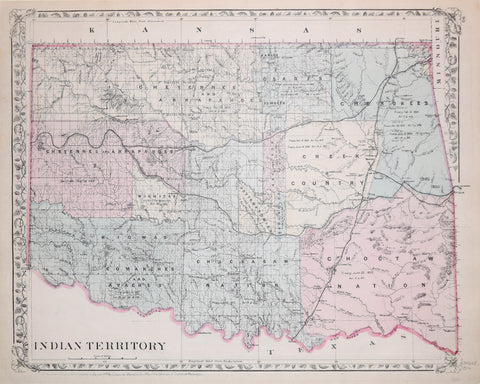 Samuel Augustus Mitchell (1790-1868)  Indian Territory (Showing Oklahoma)