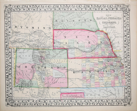 Samuel Augustus Mitchell (1790-1868), Map of Kansas, Nebraska, Colorado, Showing also the Southern Portions of Dacotah