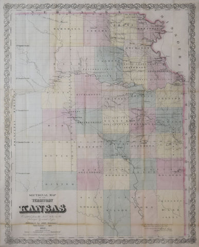John Halsall,  Sectional Map of the Territory of Kansas...