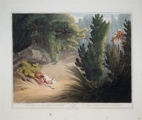 Thomas Williamson (1758-1817) and Samuel Howitt (1765-1822), Shooting a Tiger from a Platform