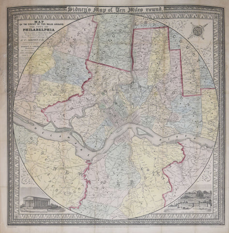 J.C. Sydney, Map of the Circuit of Ten MIles Around the City of Philadelphia…