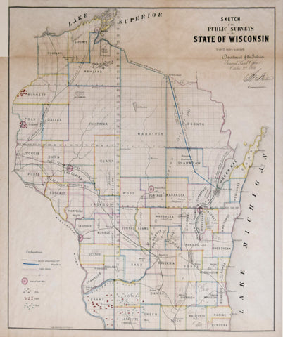 Department of the Interior, General Land Office, Sketch of the Public Surveys for the State of Wisconsin