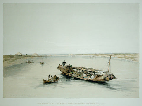 David Roberts (1796-1864), Slave Boat on the Nile- View Looking Towards the Pyramids of Dashour and Saccara