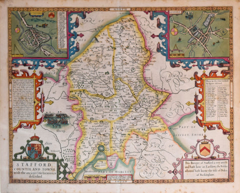 John Speed (1552-1629), Stafford Countie and Towne with Ancient Citie Lichfield describ