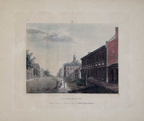 William Birch (1755-1834), State-House, with a View of Chestnut Street Philadelphia