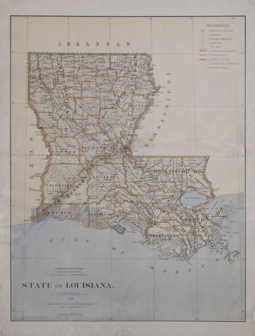 United States General Land Office/Charles Roeser, State of Louisiana, 1876