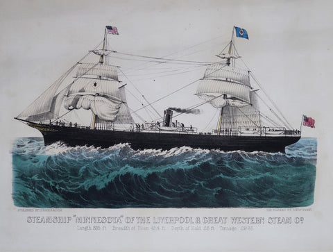 "Nathaniel Currier (1813-1888) & James Ives (1824-1895), Steamship ""Minnesota"" of the Liverpool & Great Western Steam Co."