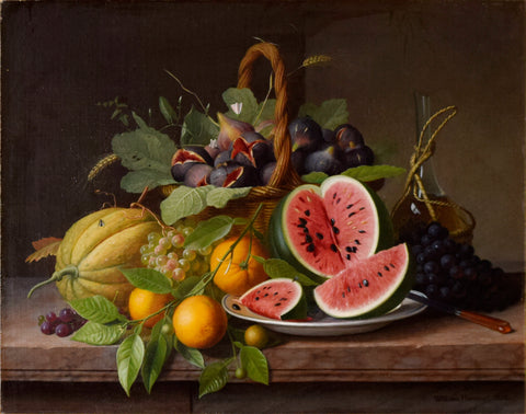 William Hammer (Danish, 1821-1889) Still Life with Fruits on a Stone Ledge