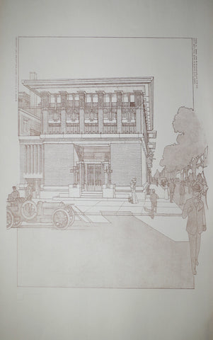 Frank Lloyd Wright (1867-1959), Mason City National Bank, Mason City, IA, Tafel IL