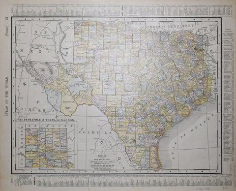 Antique maps tagged texas page 2 arader galleries rand mcnally co texas with the panhandle of texas publicscrutiny Image collections