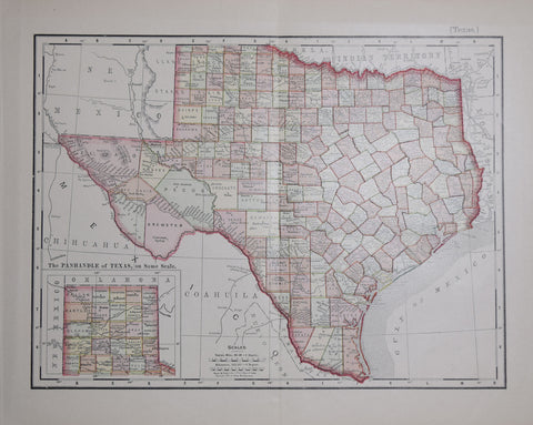 Rand McNally & Co., Texas with inset map of Oklahoma
