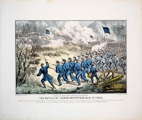 Nathaniel Currier (1813-1888) & James Merritt Ives (1824-1895), Charge of Crawford's Bridge on the Right. The Battle at Cedar Mountain, Aug 9th 1862.