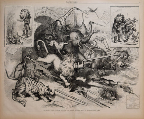 Thomas Nast (1840-1902), The Biggest Scare and Hoax Yet! The wild animals let loose again by the zoomorphism press!