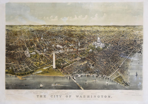 Nathaniel Currier (1813–1888) and James Merritt Ives (1824–1895), The City of Washington. Bird's eye view from the Potomac- Looking North