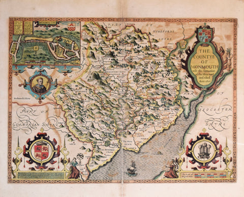 John Speed (1552-1629), The Countye of Monmouth with the Situation of the Shiretowne described Ann. 1610