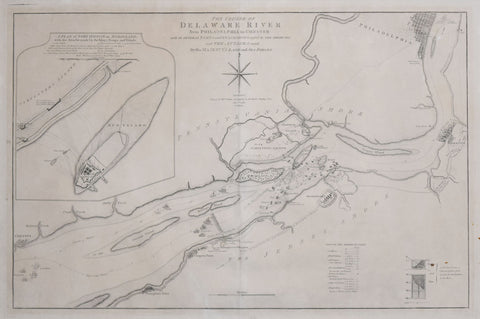William Faden (1749-1836),  The Course of Delaware River from Philadelphia to Chester, Exhibiting the several Works erected by the Rebels to defend its Passage, with the Attacks made upon them by is Majesty's Land & Sea Forces . . . 1777