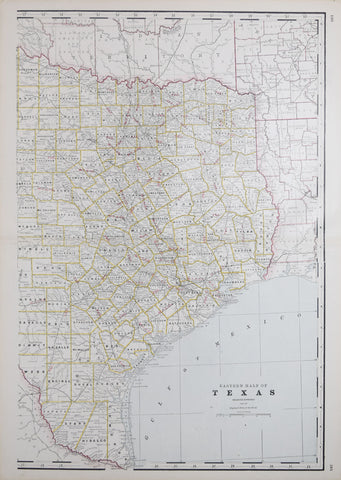 George F. Cram (1841-1928), Eastern Half of Texas, Engraved Expressly for the Standard Atlas of the World