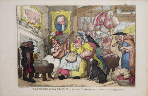 Thomas Rowlandson (British, ca. 1756-1827), The Hopes of the Family, or Miss Marrowfat at home for the holidays