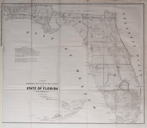 John Wescott, Surveyor General and The General Land Office, The Plat Exhibiting the State of Surveys in the State of Florida…