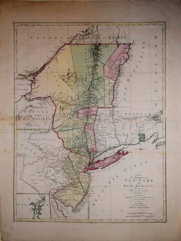 Matthew Albert Lotter (1741-1810), after Claude Joseph Sauthier (1736-1802)  A Map of the Provinces of New York and New Jersey with a part of Pennsylvania and the Province of Quebec