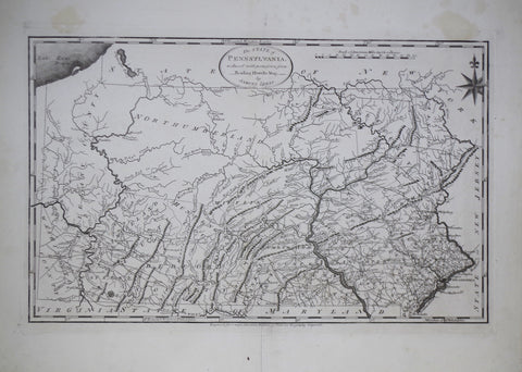 Mathew Carey (1760-1839), The State Map of Pennsylvania reduced with permission from Reading Howell map by Samuel Lewis