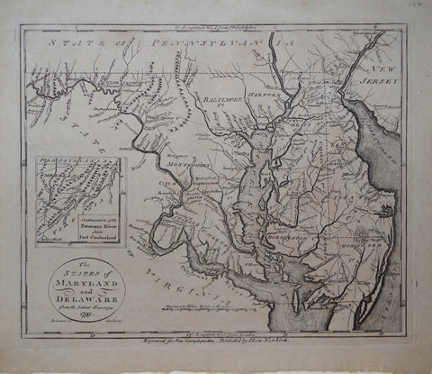 John Payne (1752-1803), The States of Maryland and Delaware, from the Latest Surveys 1799 & inset Map, Continuationof the Potomac River from Fort Cumberland