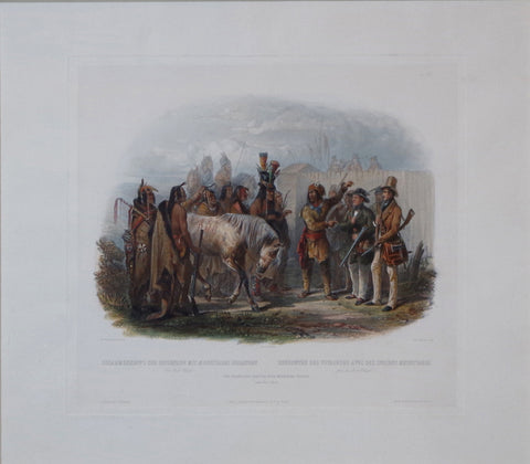 Karl Bodmer (1809-1893), The Travellers Meeting with Mandan Indians