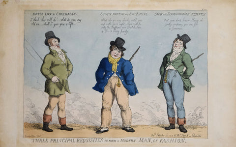 Thomas Rowlandson (British, ca. 1756-1827), Three principal requisites to form a modern man of fashion