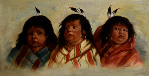 C. Peterson, Three of a Kind, Native American Indian Girls  Depicted as Cherubs