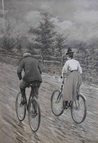 Arthur Burdett Frost (1851-1928), Two Cyclists on a June Afternoon