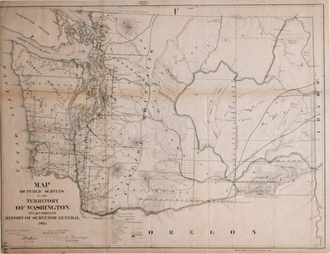 United States General Land Office, Map of the Public Surveys in Washington Territory to Accompany Report of Surveyor General 1865