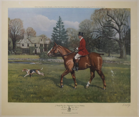 "Franklin B. Voss (1880-1953), after,  J. Stanley Reeve Esq. on Peterborough with the good bitch ""Accurate"" of Mount Stewarts Chehire Foxhound"