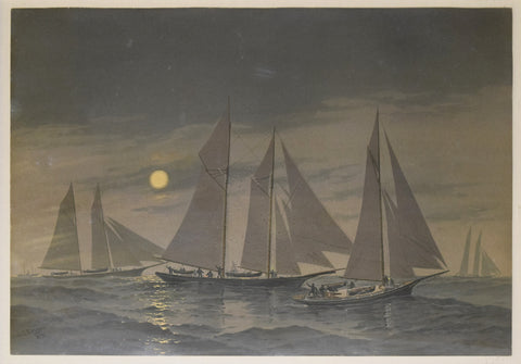 Frederic Schiller Cozzens (American, 1846-1928), Untitled [Sailboats with moon]
