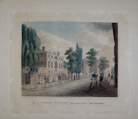 William Birch (1755-1834), View in Third Street, from Spruce Street Philadelphia