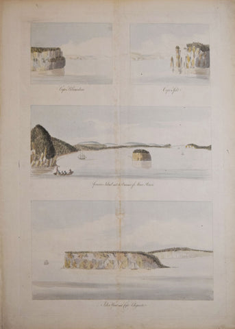 Joseph Frederick Wallet Des Barres (1721-1824), a) Cape Blonmedown and Cape Split, b) Spencers Island and Entrance of MInes Bason, c) Isle Haut and Cape Chegnedo [Nova Scotia]