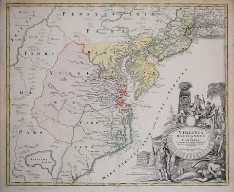 Johann Baptist Homann(1663-1724), Virginia Marylandia et Carolina In America Septentrionali Britannorum industria excultae…