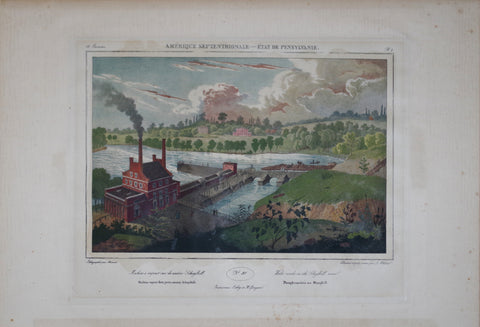 Lithograph by Jules Arnout, After Jacques Girard Milbert (1766-1840), Machine a vapeur sur la Rivere Schykill