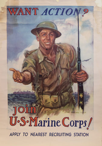 James Montgomery Flagg (1877-1960), Want Action? Join the US Marine Corps!