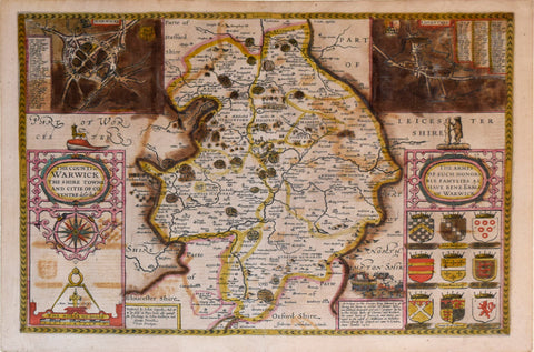 John Speed (1552-1629), The Counti of Warwick from Shire Towne and Citie of Coventre described