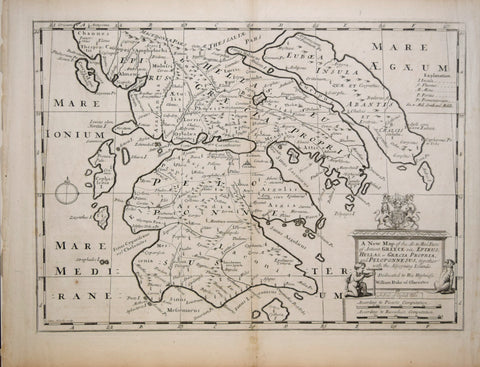 Edward Wells (English, 1667 - 1727), A New Map of the So. and Mid. Parts of Ancient Greece viz. Epirus, Hellas, or Graecia Propria, and Peloponnesus, together with the Adjoyning Islands.
