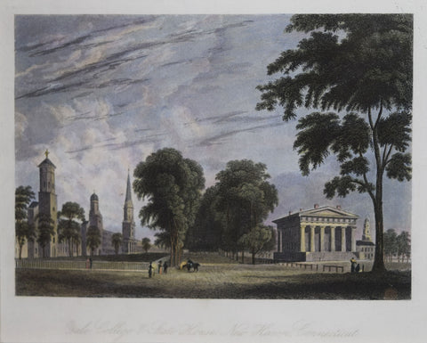 Alexander Jackson Davis (1803-1892), after, Yale College and State House, New Haven Connecticut