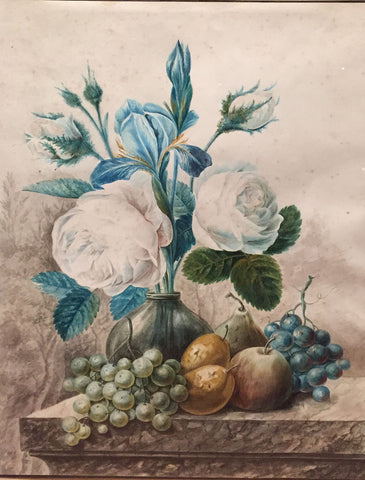 Adrienne Apol (Dutch, 1780-1862), Still Life with Flowers and Fruit