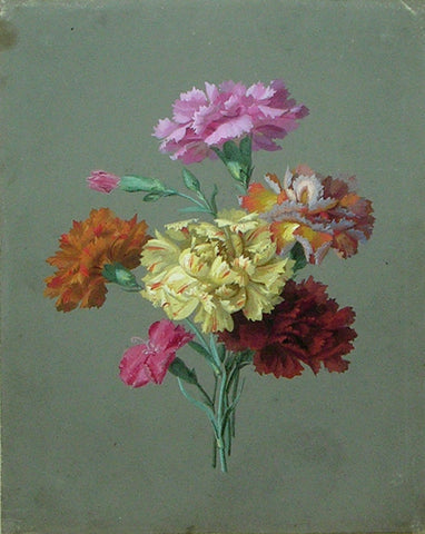 Johann-Samuel Arnhold (German, 1766-1828), Still life of Yellow, Orange and Pink Carnations