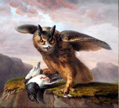 Pancrace Bessa (French, 1772-1835), An owl with its prey