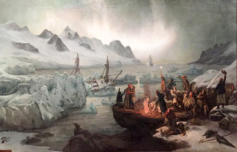 François-Auguste Biard (French, 1798-1882), Shipwreck Victims On Icefloe [The Castaways of the Lucie-Marguerite, View taken in Magdalena-Bay (Spitzbergen)]