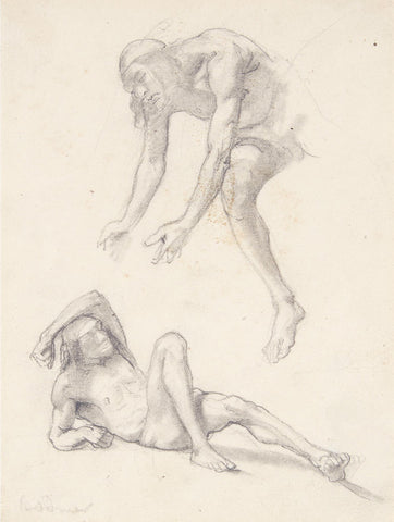 Karl Bodmer (Swiss, 1874-1962), Two Figures, One Leaning; One Lying (Sketch for 'Fort MacKenzie')