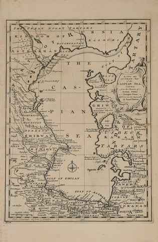 Emanuel Bowen (1693?-1767)  A New and Accurate Map of the Caspian Sea, laid down by the Memoirs of Soksam Sabbus, a Georgian Prince… No. 38